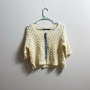 Cable knit zip up sweater cardigan